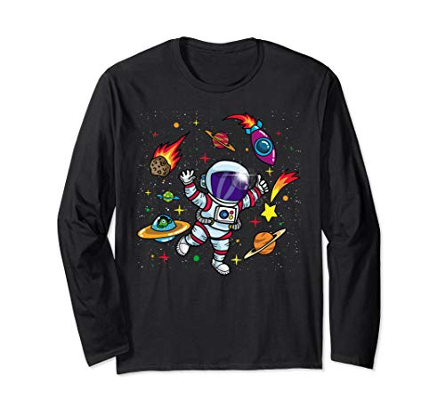 Outer Space Gift for Sci Fi Kids- Boys & Girls Astronaut Long Sleeve T-Shirt