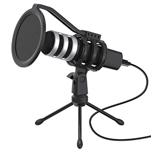 YOTTO Microfono a Condensatore USB Microfono di Registrazione Professionale Cardioid Plug & Play Microfoni per PC Laptop MAC o Windows con Filtro Pop e Treppiede per Podcasting, Streaming, YouTube