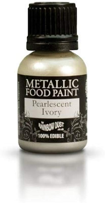 Ready To Use Metallic Pearlescent Ivory 100 Edible Food Paint For Cake And Icing Decoration