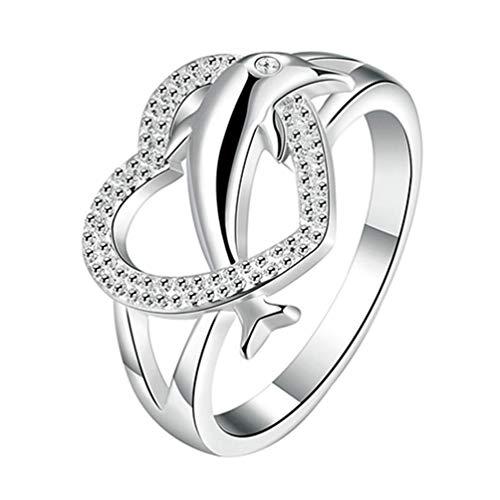PULABO Anillo para mujer, chapado en plata 925, diseño de delfín, corazón, anillo de compromiso, regalo cómodo y respetuoso con el medio ambiente