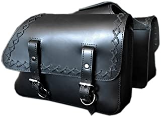 La Rosa Harley-Davidson Sportster XL Black Leather Cross Lace Throw Over Left & Right Saddlebags