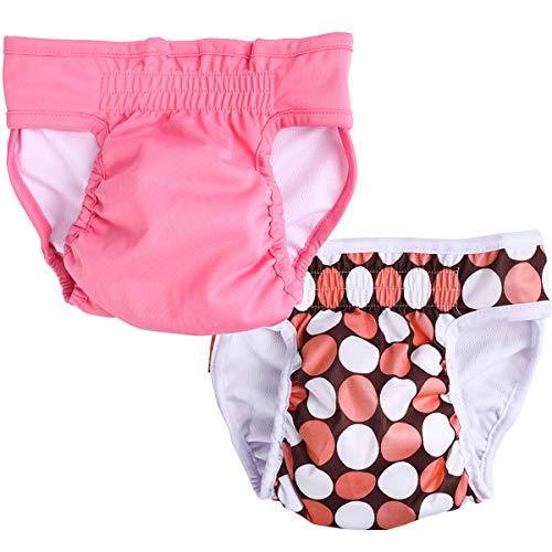 UEETEK Physiologiques Hygiène Pantalons Chien Couche Réutilisable pour Chienne Femelle Taille XS 2PCS (Rose)