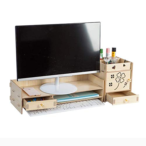 CHOUCHOU Stand Fxzyy Notebook Computer Stands 2-Layer Wooden Neck Computer Display Screen Increased Shelf Base Bracket Desktop Keyboard Storage Box Storage,C,Colour Name:A (Color : C)