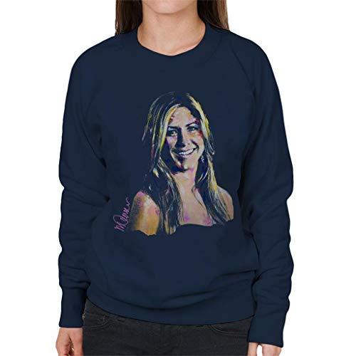 VINTRO Jennifer Aniston Damen Sweatshirt Original Portrait by Sidney Maurer professionell bedruckt Gr. S, Oxford Navy