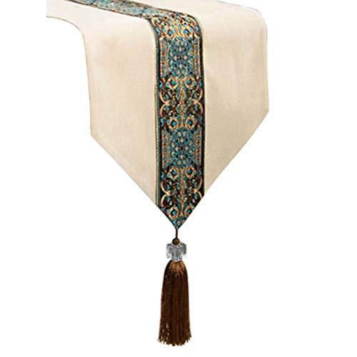 Tafelkleed Elegant Kwastje Borduren Bloem Opgetrokken Klassieke Tafelloper Corduroy voor Vakantie Verjaardagsfeesten Bruiloften Xmas 4.21