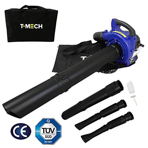 T-Mech 3-en-1 Sopladora de Hojas portátil, Aspiradora y Trituradora de Hojas de Gasolina 26cc | Bolsa de Almacenamiento Gratuita