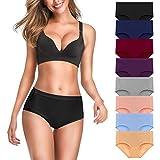 Women's Soft Cotton Underwear Panties,Ladies Mid-Waist Comfortable Hipster Briefs Underwear Women 8 Pack,Multi XL