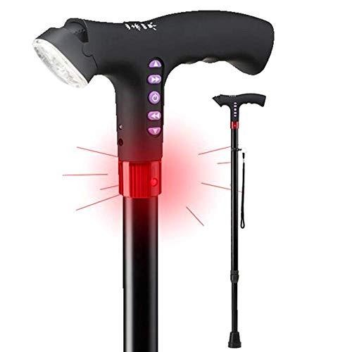Bastón para Caminar con luz LED Ajustable con Alarma, Ajuste de Altura, bastón de Mano, Negro