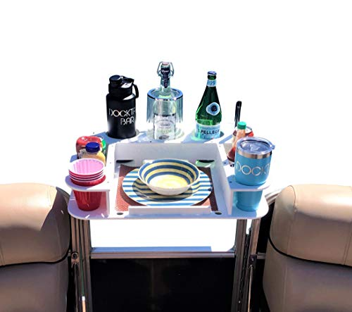"Docktail Butler Pontoon Boat Marine Food & Cocktail Table - Includes 1 1/4"" Square Rail Mount - Large Serving Tray for Grill - Boat Cup and Bottle Holder - Boating Accessories Storage - Cockpit Dining"