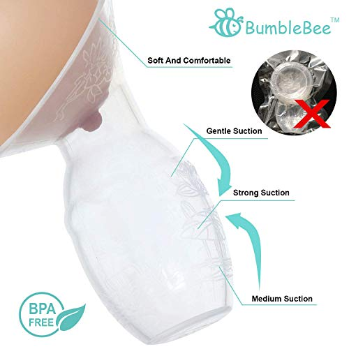 Bumblebee Breast Pump Manual Breast Pump Breastfeeding Collection Cups Pink Pump Stopper lid Pouch in Gift Box Food Grade Silicone Breast Pump, Pink Heart Shape