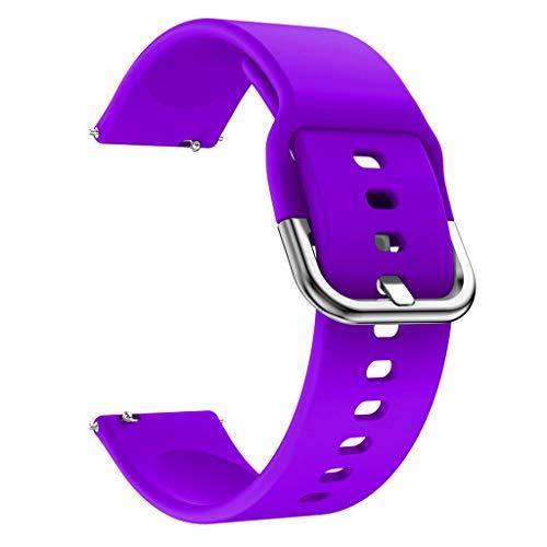 Qiulip Zachte Siliconen Vervanging Horloge Band Polsband Sport Horlogeband Armband Voor Samsung Galaxy Horloge Actieve Accessoires, Paars