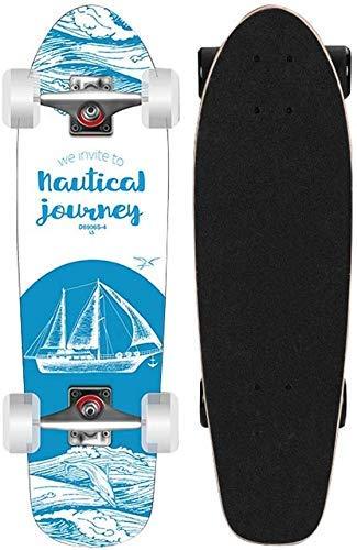 28 Pulgadas Longboard Cruiser Micro Board Completamente ensamblado Principiantes Double Kick Cruising Skateboard Pro Patinetas estándar para jóvenes Adultos Niños