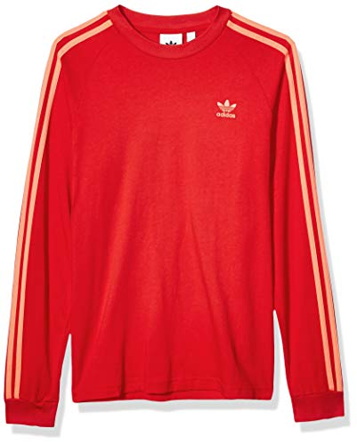 adidas Originals Men's BLC 3-Stripes Long-Sleeve Tee, Scarlet, Medium