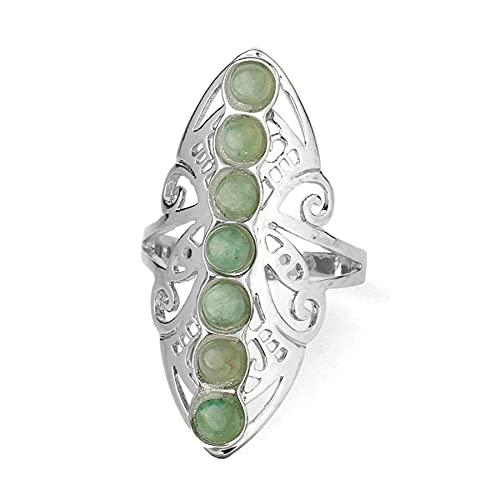7 anillos de dedo con cuentas de piedra de Chakra, encanto de punto de equilibrio, anillo de mujer con flores huecas de yoga ajustable