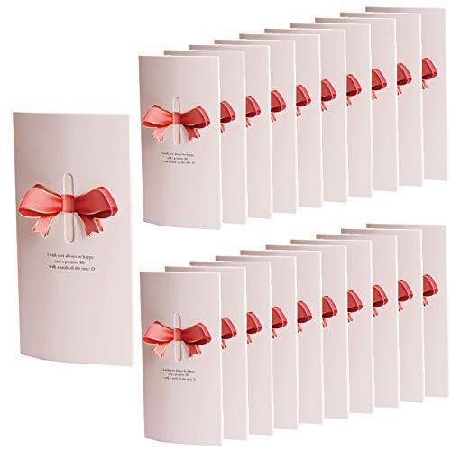 HWT リボン 付 メッセージカード 20枚セット ピンク 席札 披露宴 結婚式 用 グリーティングカード ウェルカム カード 立体 (ピンク)