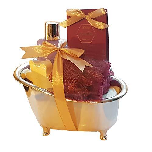 Badewanne – Geschenkset Vanilla 5-teilig Bade- und Duschgel Badesalz Badefizzer Badeknäul Beauty Wellness Entspannung