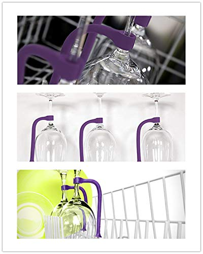 Product Image 6: 4 Pack Silicone Stemware Saver Flexible Stemware Holder Dishwasher Wine Glass Protector Tether Silicone Dishwasher Attachment by PPX (purple)