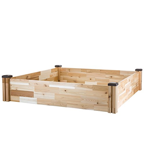 """CedarCraft Raised Cedar Garden Bed (49"""" X 49"""" X 10"""") - Grow Fresh Vegetables, Herb Gardens, Flowers & Succulents. Beautiful elevated Garden Bed for your Yard and Home Gardening. No Tools Required."""