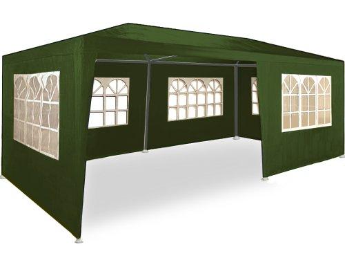 Deuba Gazebo da Giardino 3x6 m Rimini Protezione UV 50+ Idrorepellente 6 pareti Laterali 18 m² Tenda per Feste Padiglione da Giardino Tendone da Esterno Verde Scuro
