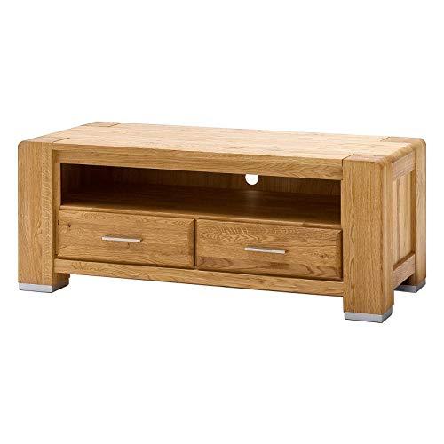 MÖBEL IDEAL Lowboard Wildeiche Massivholz Schrank Eiche Massiv B129 x T55 x H51 cm Natur geölt