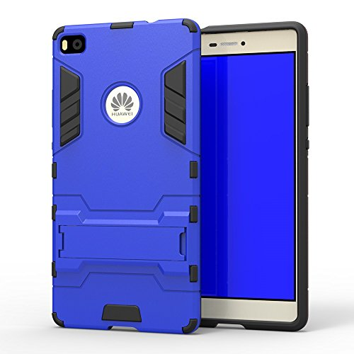 Yhuisen 2 in 1 Iron Armor Tough Style Hybrid Dual Layer Armor Defender PC + TPU beschermende harde Hoezen Met Stand [Shockproof Case] ​​voor Huawei P8 (Color : Blue, Size : Huawei P8)