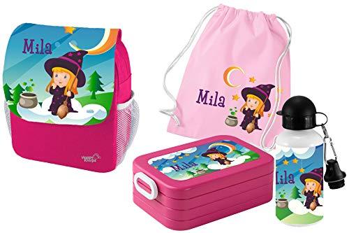Mein Zwergenland Set 5 Kindergartenrucksack mit Brotdose Maxi, Turnbeutel und Flasche Happy Knirps Next Print mit Name Hexe, 4-teilig, Pink