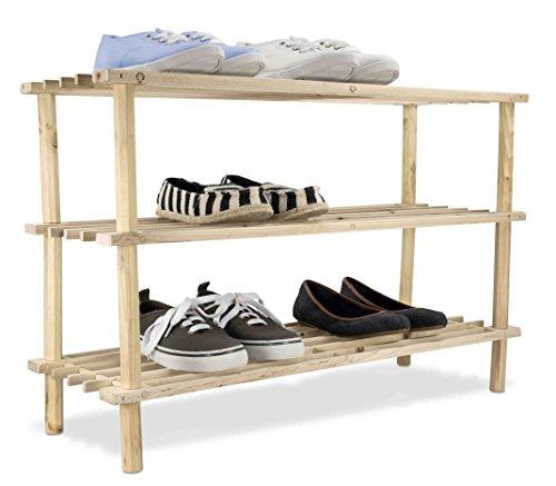 Home Basics 12 Pair / 3 Tier Wooden Shelves Shoe Rack