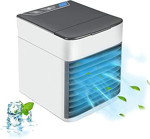 KMILE Enfriador de aire, aire acondicionado portátil, mini aire acondicionado, USB Arctic Air Cooler, 3 velocidades con luz LED para el hogar, oficina, habitación, dormitorio