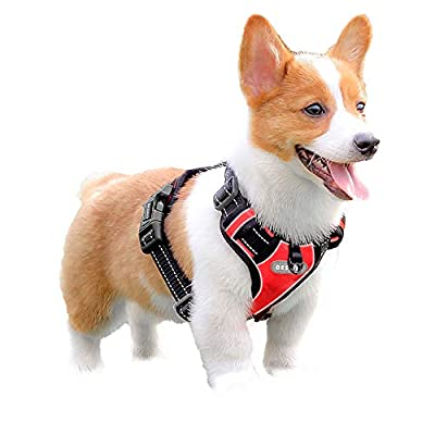 Dog Harness No Pull Large Breed Pet Harness Reflective Stitching Breathable Nylon Oxford Material Soft Vest for Medium Large Dog Red and Black