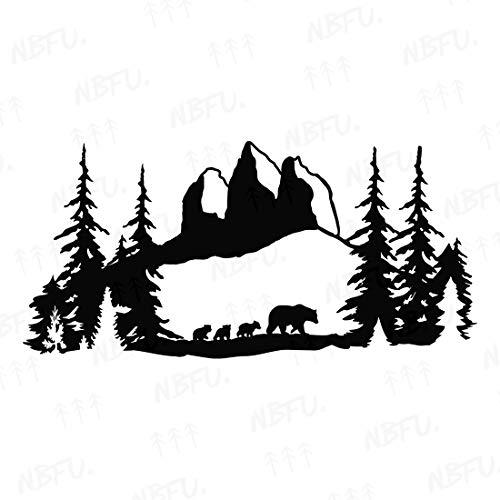 NBFU Decals Bear Mom Mountains Forest Adventure 2 (Black) (Set of 2) Premium Waterproof Vinyl Decal Stickers for Laptop Phone Accessory Helmet Car Window Bumper Mug Tuber Cup Door Wall Decoration