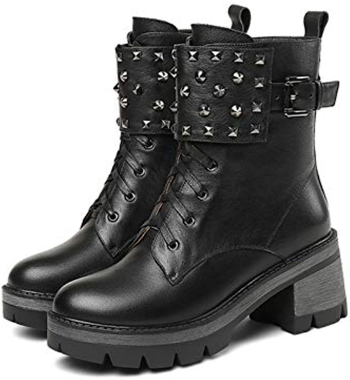 MENGLTX High Heels Sandalen Frauen Echtes Leder Stiefeletten High Heels Rock Nieten Kurze Motorradstiefel Plattformen Grundlegende Stiefel Schuhe Frau