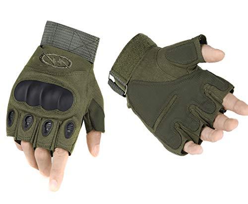 ThreeH Luvas táticas rígidas de meio dedo Luvas de meio dedo para equitação airsoft caça paintball GL07L,Verde