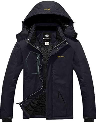 GEMYSE Men s Mountain Waterproof Ski Snow Jacket Winter Windproof Rain Jacket Black Large product image