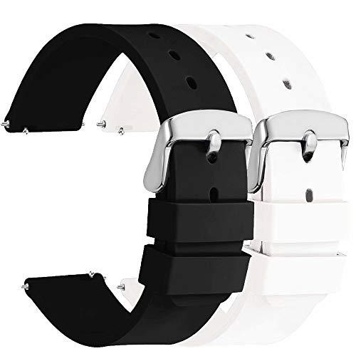 Fengyiyuda 2 Piezas Correa Reloj 20mm, Correas de Reloj Galaxy Watch Active 2, Hebilla de Acero Inoxidable, Compatible con Correa Watch 2/Garmin,Negro/Blanco
