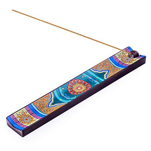 Enameled Incense Stick Holder, Ceramic Handicraft Incense Holder with Ash Catcher, 9 inches...