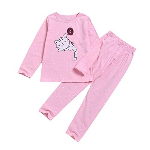 wuayi Mädchen Schlafanzüge, Kind Mädchen Katze Drucken Lange Ärmel Schlafanzugoberteil + Schlafanzughose T-Shirt Hose 4-5 Jahre 6-7 Jahre 8-9 Jahre 10-11 Jahre 12-13 Jahre