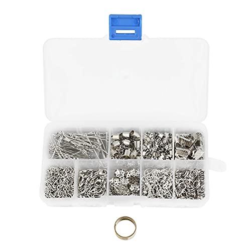 Juego de accesorios para la reparación de joyas, con cierre de mosquetón, cadenas, colgantes de cinta, anillos abiertos, para manualidades, joyas, collares, pulseras, pendientes, llaveros, plata