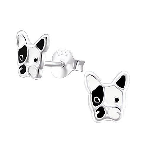 Sterling Silver French Bulldog Dog Earrings
