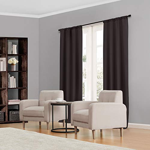 """Eclipse Kendall Thermal Insulated Single Panel Rod Pocket Darkening Curtains for Living Room, 42"""" x 84"""", Black"""
