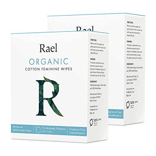 Rael Toallitas femeninas de algodón orgánico - 100% agua purificada, algodón orgánico certificado por OCS, biodegradable, ideal para pieles sensibles, envueltas individualmente, (total 20 unidades)