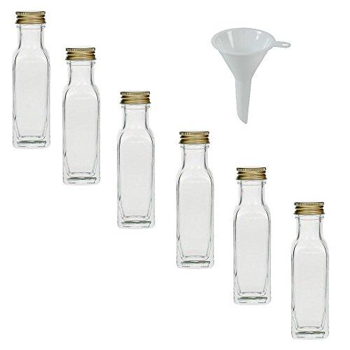 Viva Haushaltswaren - 6 x Glasflasche 100 ml mit Schraubverschluss, leere Flaschen zum Befüllen als Ölflasche, Schnapsflasche, Einmachflasche etc. verwendbar (inkl. Trichter Ø 5 cm)