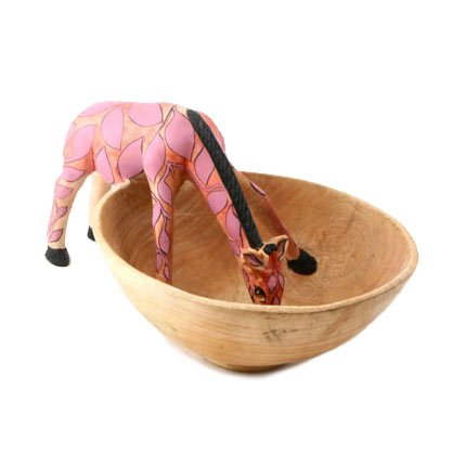 Watering Hole Jacaranda Wood Giraffe Bowl - Pink - Fair Trade