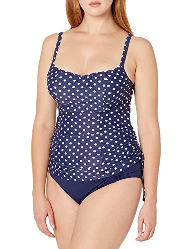 Panache Swim Women's Petite Underwire Tankini, Navy/White Dot, 42HH