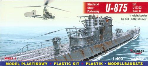 Mirage Hobby 40043, 1: 400 échelle, U-875 de type IX U-Turm II sous-marin allemand + D2 autogire Fa-330, kit de modèle en plastique