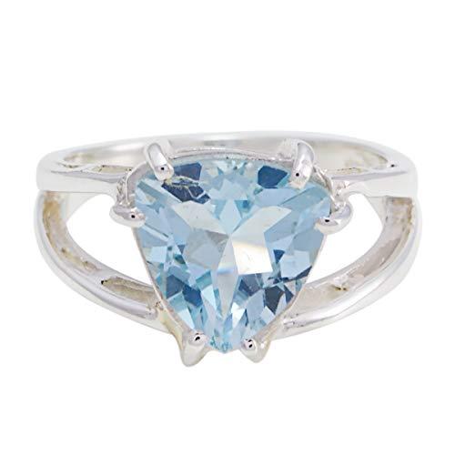 Pulchritudinous Gem Blue Topaz Solid Silver Ring Nickel Free Jewelry-RGPL-SRBTOFC-12001-L