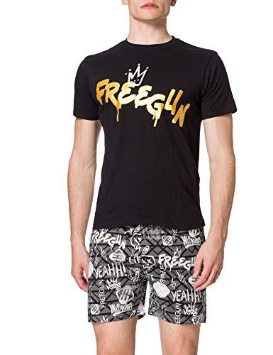 Freegun AH.FGGRA.PSHB.MZ Juego de Pijama, Noir/Imprime, XL para Hombre