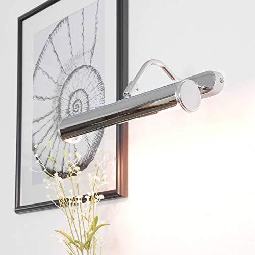 Bilderleuchte Messing Echt 30cm Chrom Verstellbar Handarbeit aus Italien E14 bis 40W Bilderlampe Wandleuchte