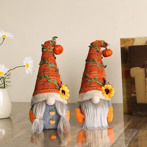2 Pcs Fall Harvest Gnomes Farmhouse Ornaments, Orange Autumn Pumpkin, Sunflower Decor, Green Leaf Swedish Dolls for Halloween, Festival, Christmas, Parties, Store, Bar, Shopping Mall