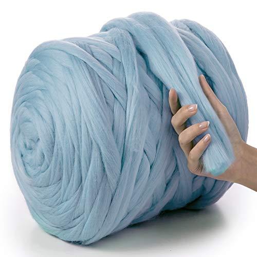 MeriWoolArt 100% lana de merino para punto y ganchillo con hilo de 4-5 cm de grosor, lana de merino gruesa para bufanda, manta y almohada XXL (azul bebé, ovillo de 4,5 kg)
