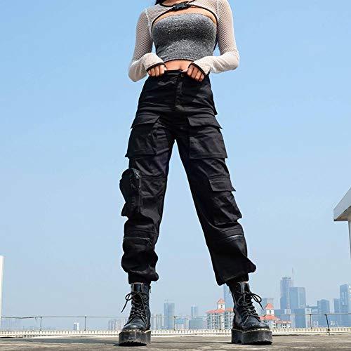 CKBYTH Hosen Taschen Reißverschluss Patchwork Hip Hop Cargo Pants Damen Ganzkörperansicht Streetwear Loose Plain Black Trousers Hohe Taille Sommer